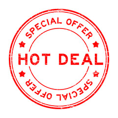 Grunge red special offer and hot deal rubber stamp