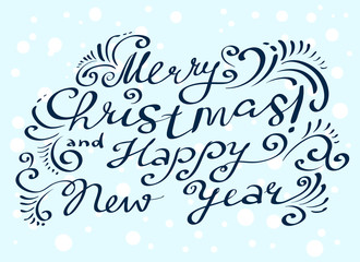 Merry Christmas and happy new year lettering hand drawm composition