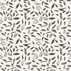 Ink feather seamless pattern. Hand drawn doodle vector background.