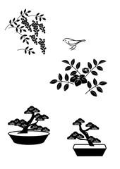 植物 盆栽 小鳥 シルエットセット