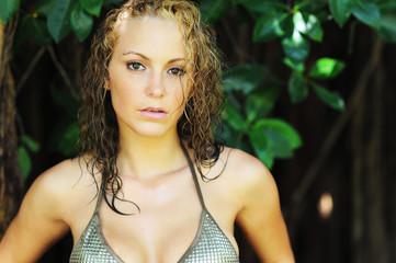 Young Blonde Woman in Bikini
