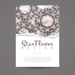 Vector design templates. Business card with floral circle ornament. Mandala style.