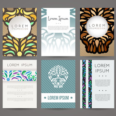 Set of vector design templates. Business card with floral ornament.