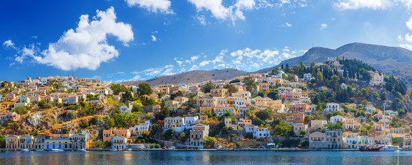 Panoramic view of the coast the island  Symi, Greece