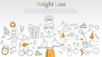 Doodle line design of web banner Weight loss.