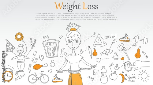 Doodle Line Design Of Web Banner Weight Loss Stock Image And