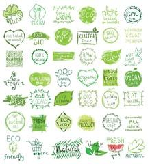 Cruelty free, not tested on animals, eat local, healthy food, eco, organic bio, gluten free, vegetarian, vegan labels. Blurred rural background. Vector restaurant menu logo, badges templates