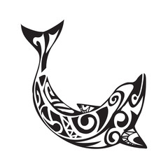 Dolphin tattoo in Maori style. Vector illustration EPS10