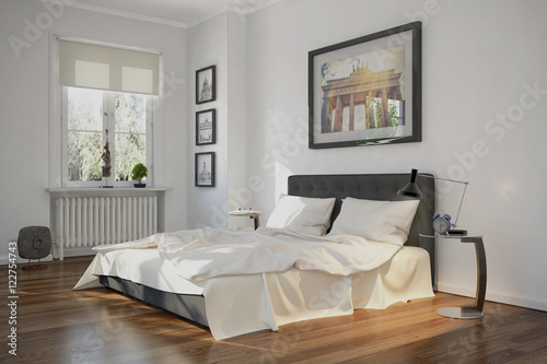 Modern Eingerichtetes Schlafzimmer In Einer Sanierten Altbauwohnung