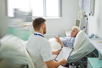 Female talking to doctor