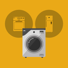 washing machine with home electronic appliances image vector illustration