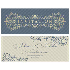 Set of 2 Wedding Invitation card Baroque