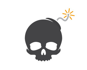 Vector logo design combination of a skull and bomb. Skull and bomb symbol or icon