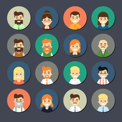 Various smiling cartoon faces, round icons set. Group of cute happy diverse business people, vector illustrations isolated on gray background. Avatars collection in flat design