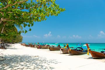 White sand beach of Bamboo island view, Phi Phi, Thailand