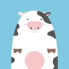 cute fat big cow on blue background