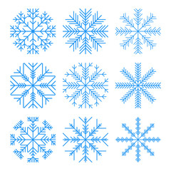 Set of blue snowflakes. Isolated on white vector illustration