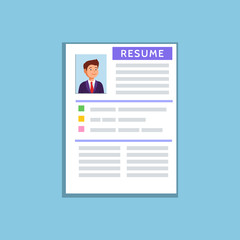 Vector flat illustration of a resume cv icon on blue background. Recruiting, employment, human resources, team management.