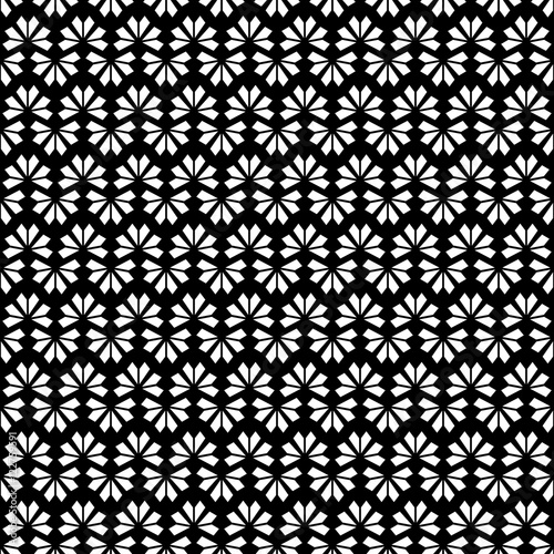 Black White Texture Vector Modern Oriental Geometric Flower Pattern