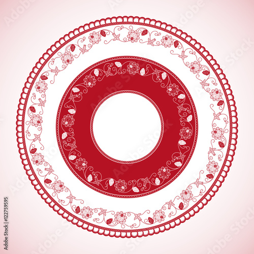 White Red Color Wheel Pattern Vector Panama Traditional Circle With Decorative Flower Pollera Skirt Ornament