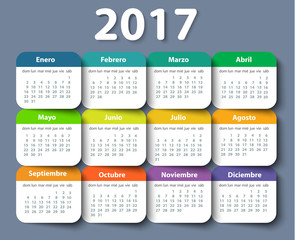 Calendar 2017 year vector design template in Spanish.