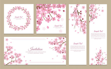 Set of greeting cards, banners and invitation card with blossom sakura flowers. Wall mural