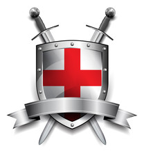 Shield with Crossed Swords - Silver shield with red cross and banner