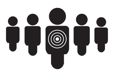 Personal targeted consumer marketing flat icon