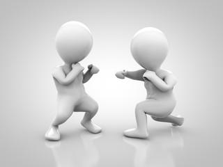 Zwei Athleten beim Boxkampf