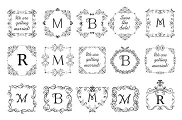 Beautiful vignettes collection for wedding design, menu card, restaurant, cafe, hotel, jewellery store, logo templates, monogram