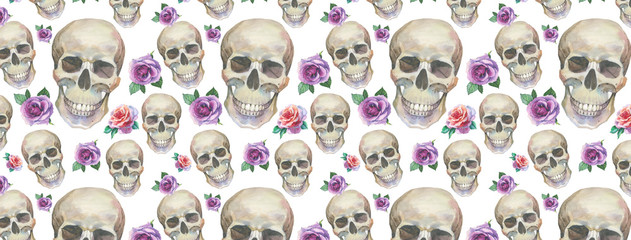 FB cover for Facebook in a watercolor style isolated. Set elements: wild flowers, skull. Aquarelle image could be used for profile background, timeline wallpaper, fb page header or as banner template.