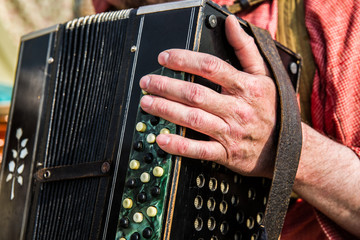 The hand of an unidentified, unrecognizable accordionist, bayani