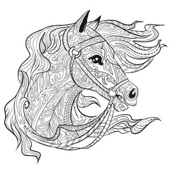 Hand drawn doodle horse face page. Animal head. Illustration for adult coloring book.