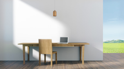 Work desk with computer notebook in an empty room looking out to a view of nature.3D rendering