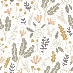 Flowers, leaves and berries pastel seamless pattern on white bac