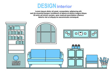 Interior design living room furniture concept flat line art vector icons. Modern website infographics illustration image web banner