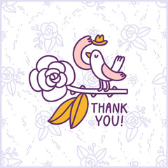 Thank you floral birdie card