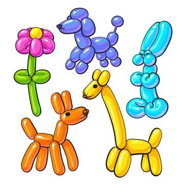 Set of balloon animals - dog, poodle, giraffe, flower and rabbit, cartoon vector illustrations isolated on white background. Colorful drawing of inflatable toys made of twisted balloons