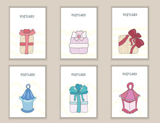 Cute doodle birthday, party, baby shower cards, brochures, invitations with boxes with gifts and bows, lights. Objects background. Printable templates set