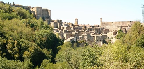 view of the old town of Sorano, Tuscany, Italy