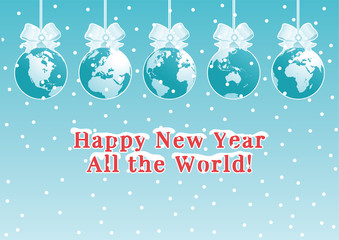 "Holiday Background. Vector illustration of  baubles with globes and text ""Happy New Year""."