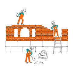 Illustration of construction site. Character workers, laborers in different pouses in flat design. Isolated on white background. Vector eps10