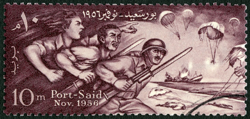 EGYPT - 1956: shows Egyptians Defending Port Said