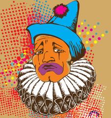 Design of sad clown. Avialib for t-short, bag, poster