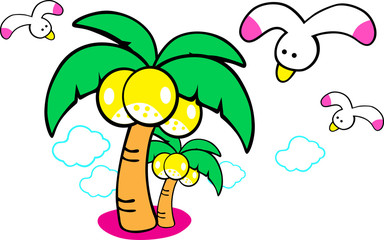Coconut palm tree with coconuts, cloud, bird vector illustration