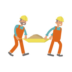 Character construction worker, laborers carrying barrow with burden. Isolated on white background. Vector illustration eps10