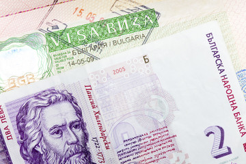 visa of Bulgaria on the page of the passport and Bulgarian lev ..