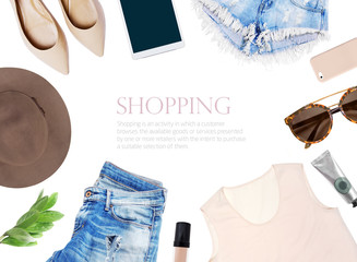fashion blogger concept.  set of Feminine accessories on white background Wall mural