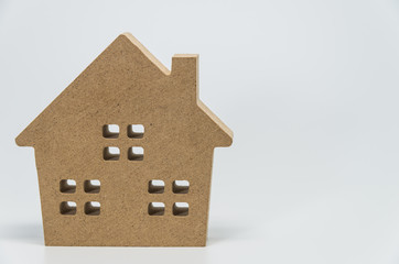 Wooden house toy with white background