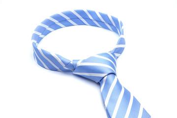 Blue necktie with white strip